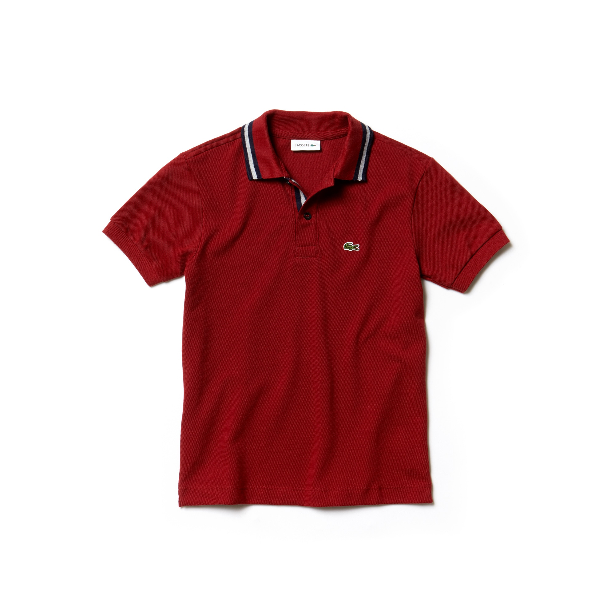 Boys' Piped Neck Cotton Piqué Polo