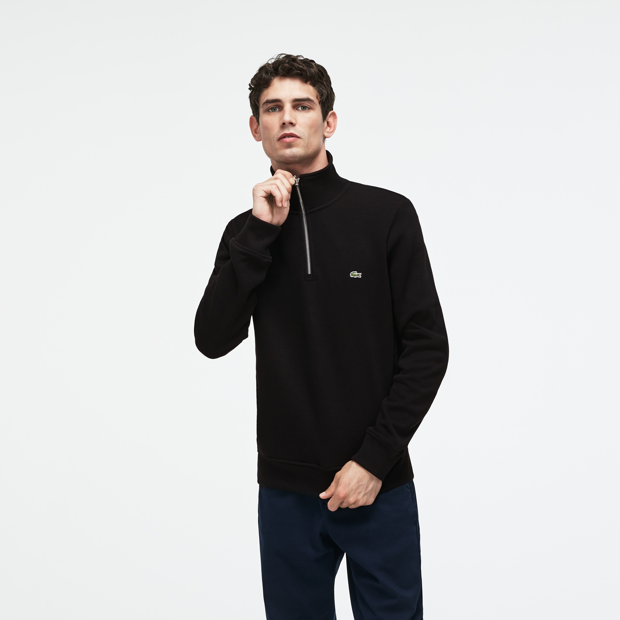 Men's Flat Ribbed Zippered Stand-Up Collar Sweatshirt