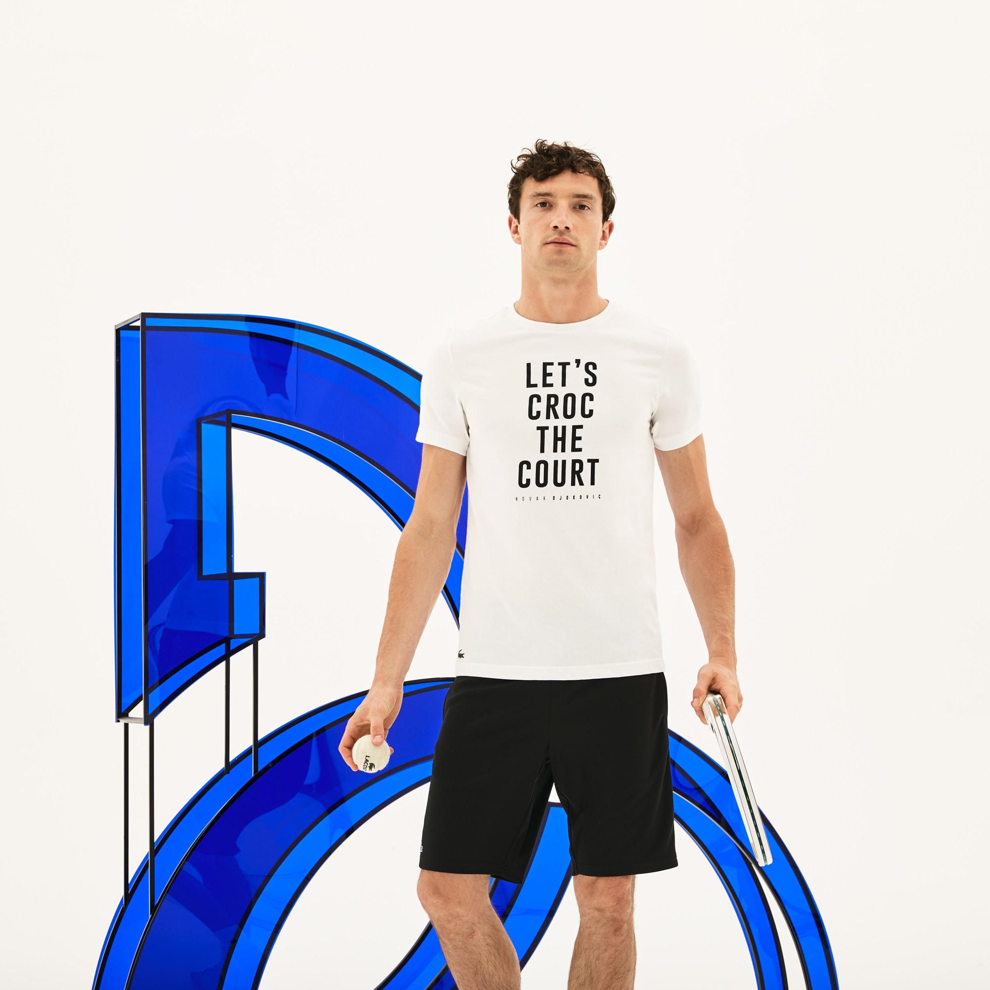 Men's SPORT Crew Neck Lettering Technical Jersey T-shirt - Lacoste x Novak Djokovic Support With Style - Off Court Collection