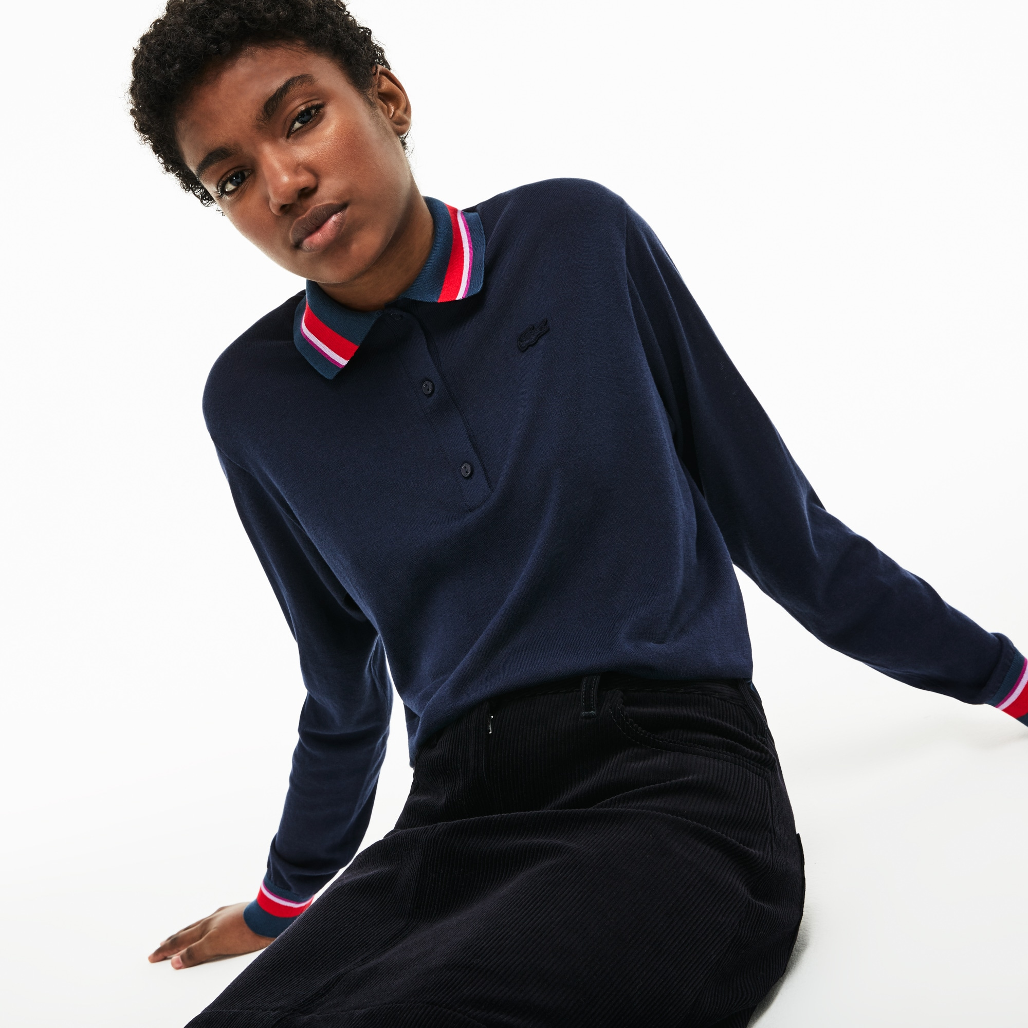 Women s Polo Collar Contrast Accent Silk Cotton Jersey Sweater  68c7dcd0bf