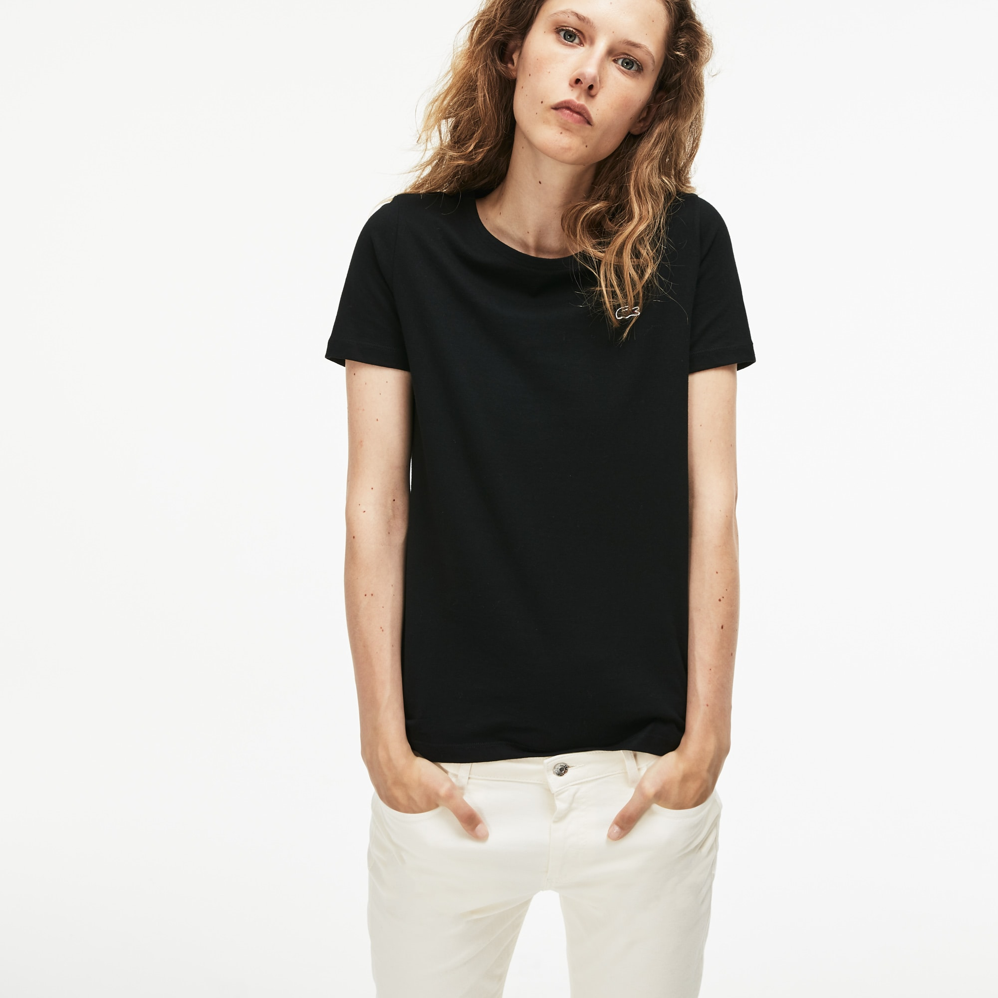 Women's Crew Neck Flowing Cotton Jersey T-shirt