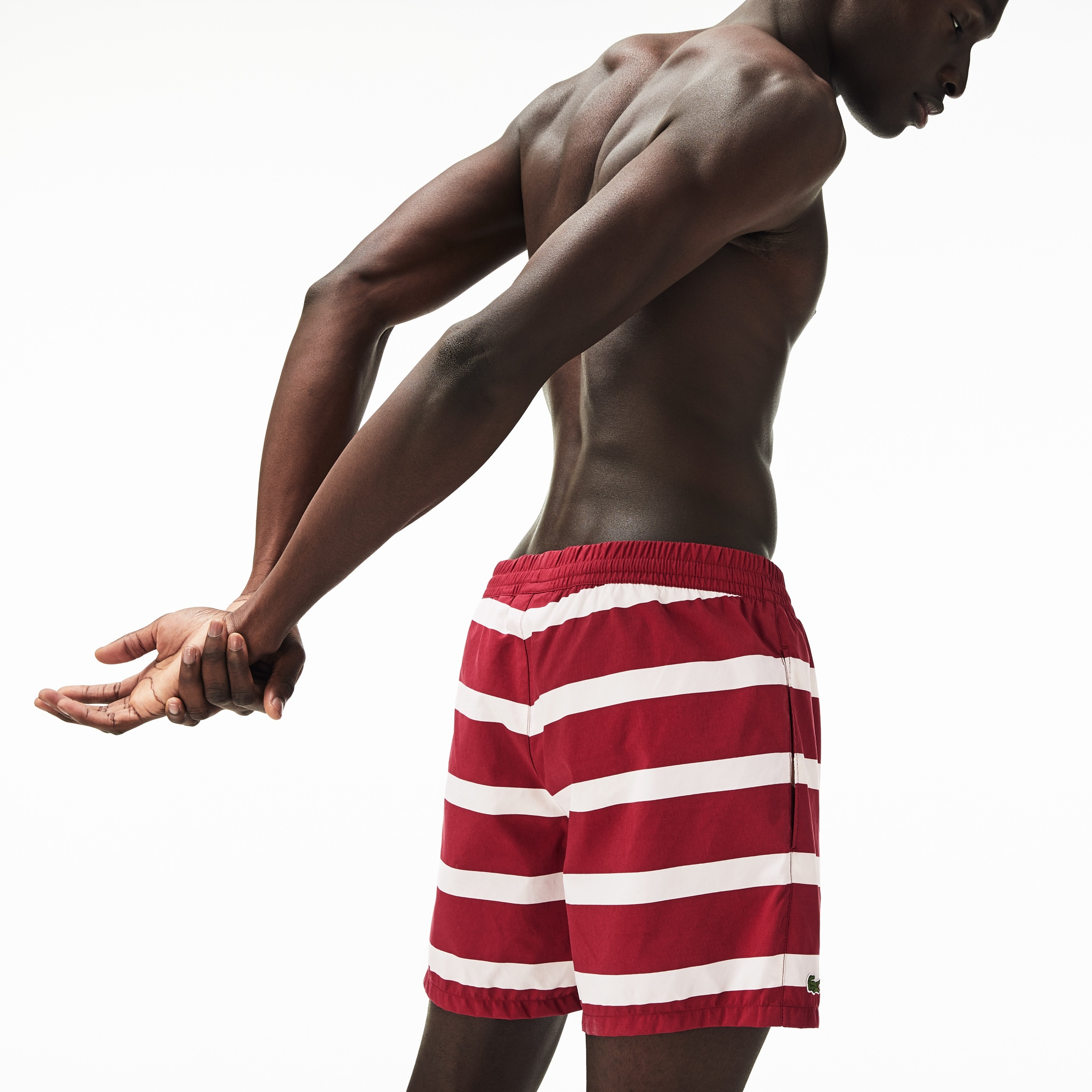 Men's Striped Canvas Swim Trunks