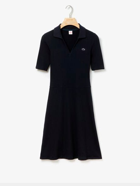Ribbed Cotton Blend Polo Dress