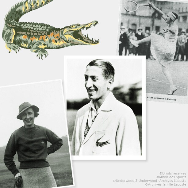 Freedom, elegance and modernity: René Lacoste and his sporting lifestyle, embodied by the crocodile emblem. Simone Thion de la Chaume, René Lacoste, Suzanne Lenglen.
